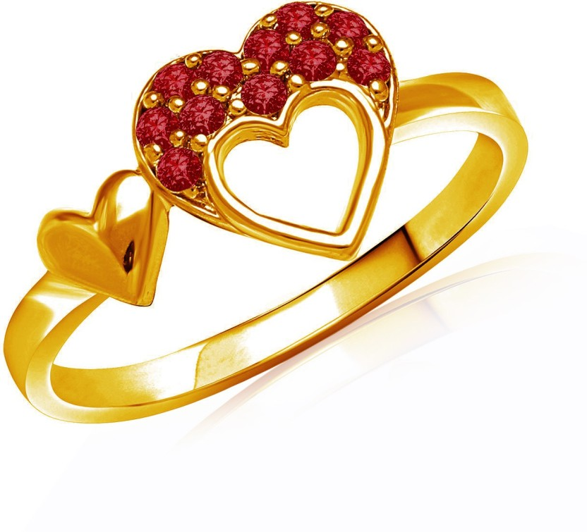 Mahi Red Sweetheart Brass, Alloy Swarovski Crystal 24K Yellow Gold Plated Ring
