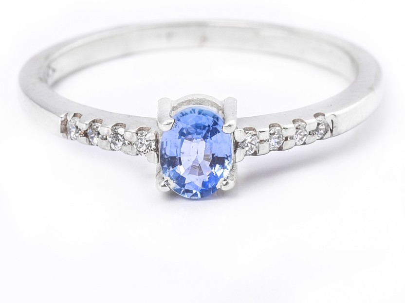 Ijuels Vogue Royal Rollings Sterling Silver Sapphire, Cubic Zirconia Rhodium Plated Ring