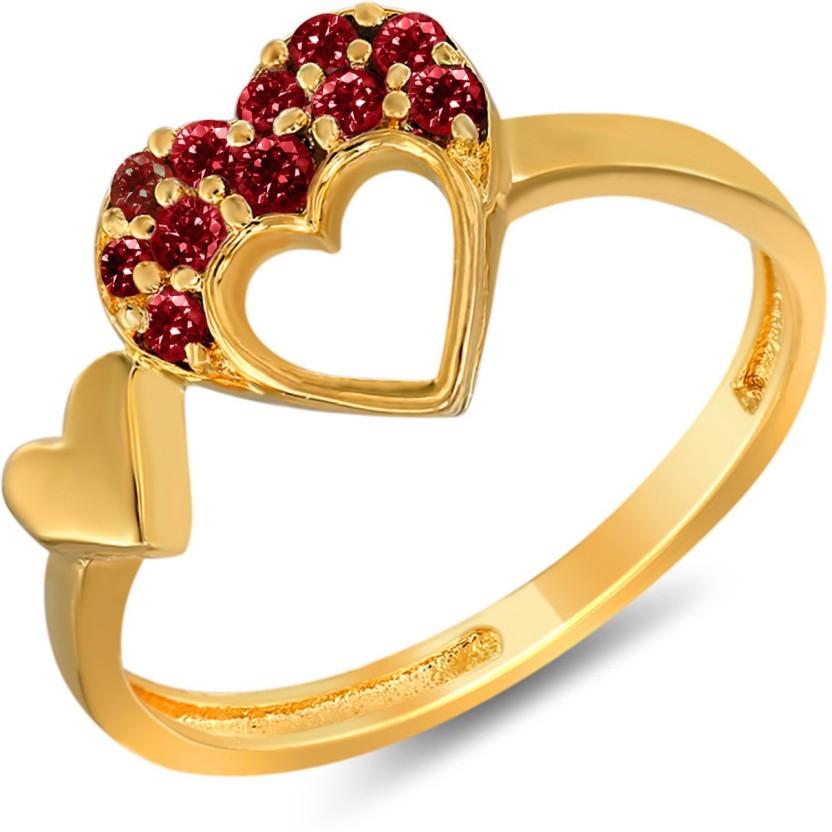 Mahi Red Sweetheart Brass, Alloy Swarovski Crystal 24K Yellow Gold Plated Ring