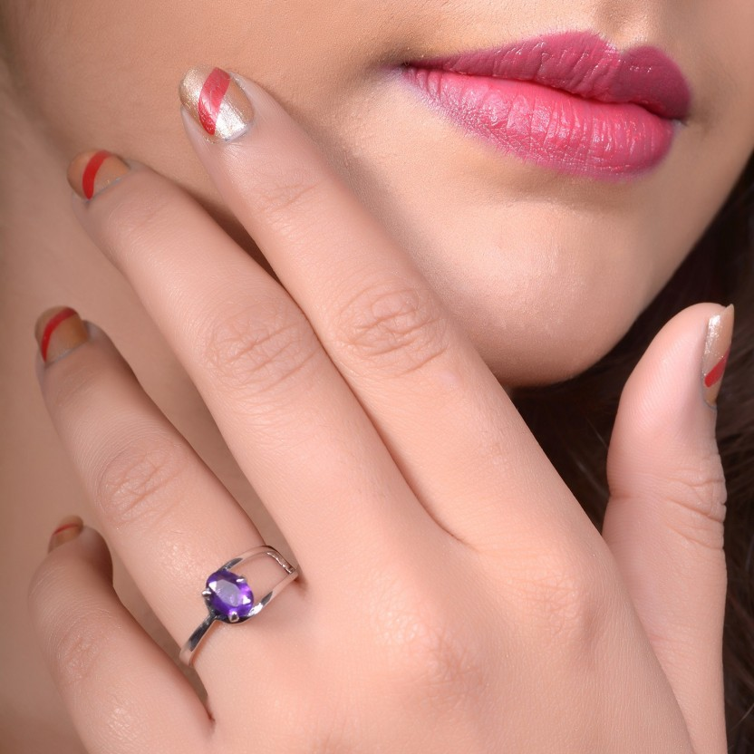 Factorywala Real Oval Design Amethyst Silver Silver Plated Ring