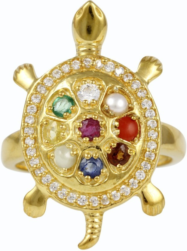Exxotic Jewelz Navratna Tortoise Silver Cubic Zirconia, Pearl, Ruby, Sapphire 24K Yellow Gold Plated Ring