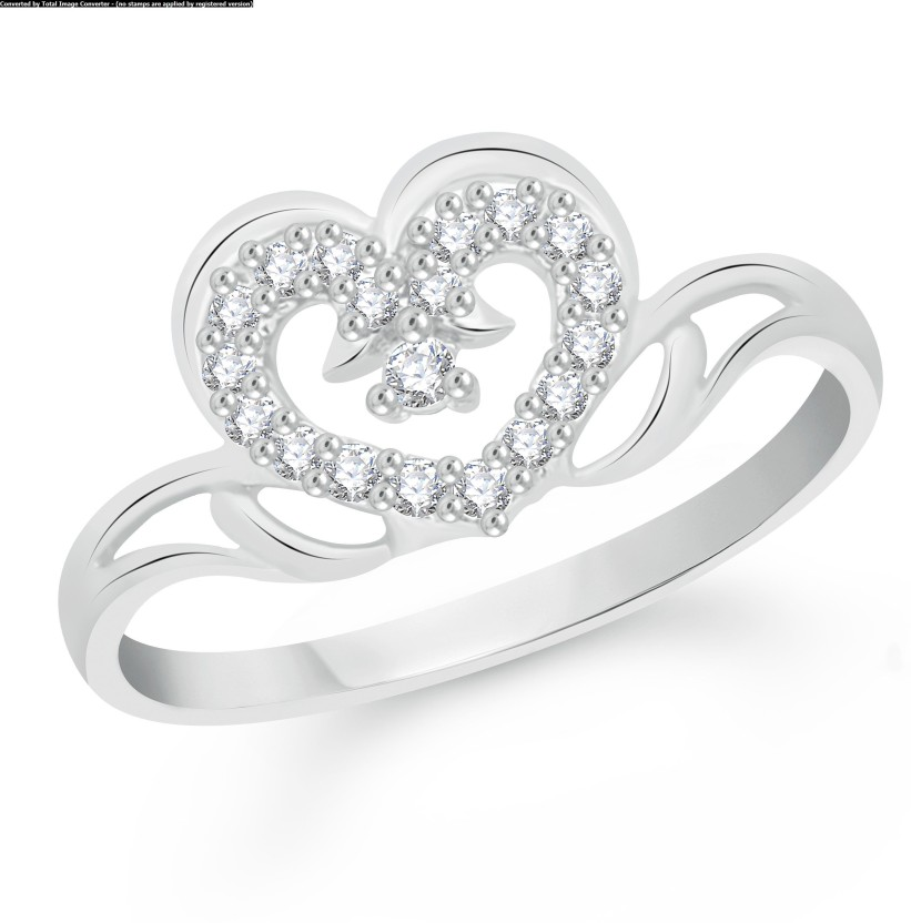 VK Jewels Graceful Heart Alloy Cubic Zirconia Rhodium Plated Ring