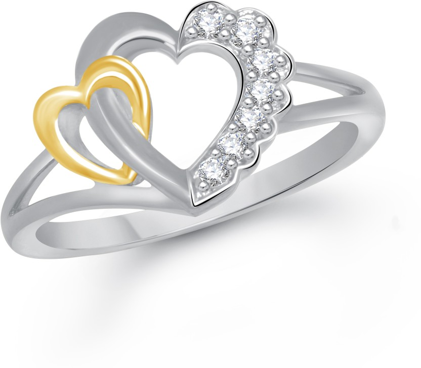 VK Jewels Dual Heart Alloy Cubic Zirconia Yellow Gold Plated Ring