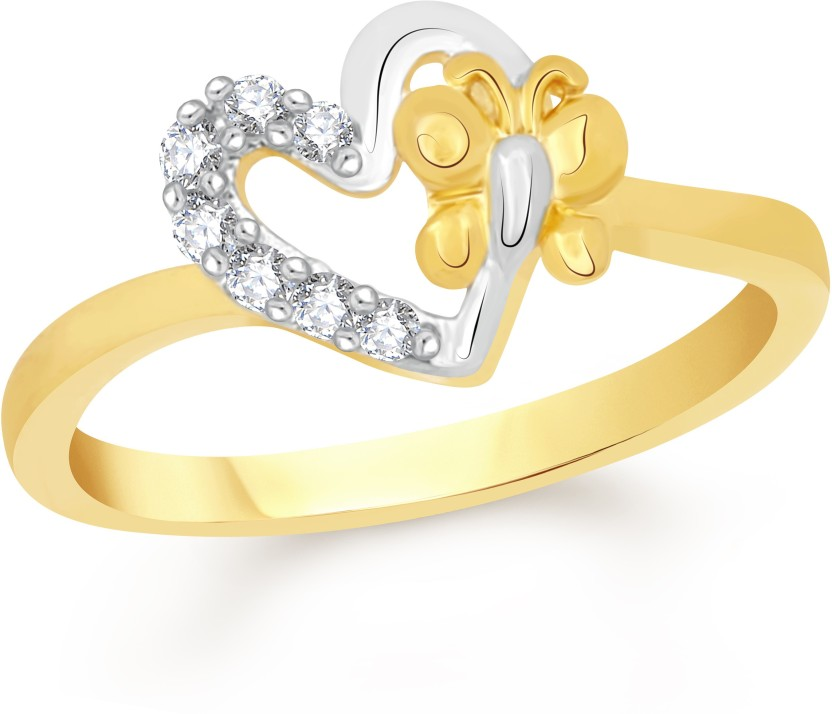 VK Jewels Hearts Knot Alloy Cubic Zirconia 18K Yellow Gold Plated Ring
