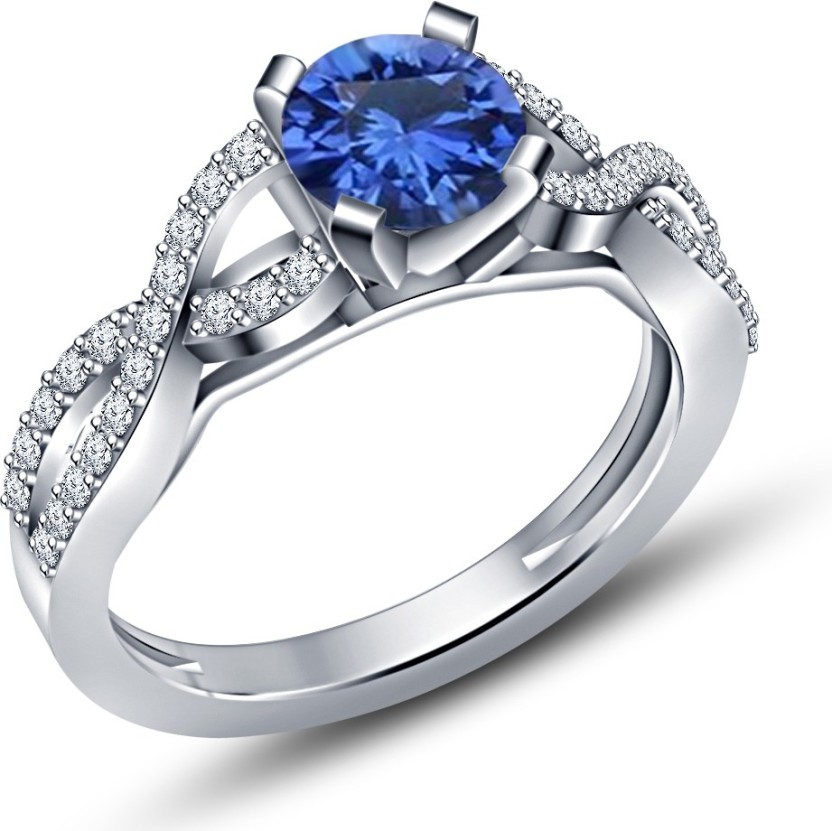 Vorra Fashion Anniversary Twisted Shank Sterling Silver Sapphire, Cubic Zirconia Platinum Plated Ring