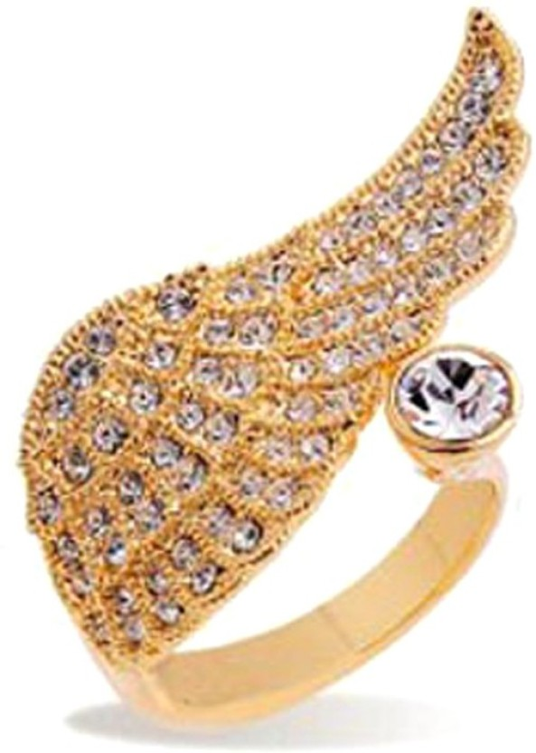 University Trendz UNIV_R004 Alloy Crystal 18K Rose Gold Plated Ring