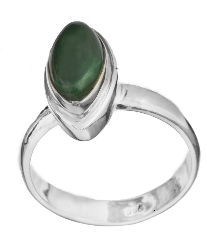 Exotic India Marquis Sterling Silver Malachite Ring
