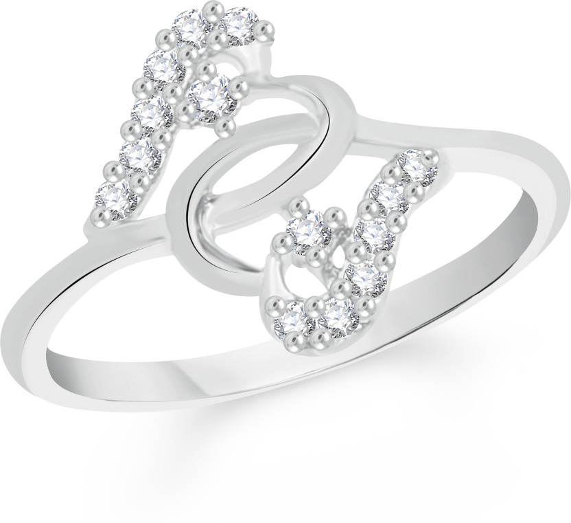 VK Jewels Well-formed Alloy Cubic Zirconia Rhodium Plated Ring