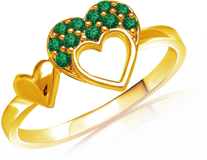 Mahi Green Sweetheart Brass, Alloy Swarovski Crystal 24K Yellow Gold Plated Ring