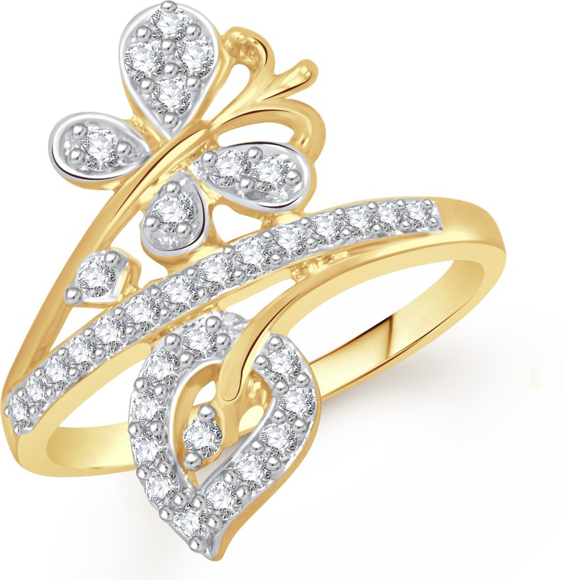 VK Jewels Butterfly with Leaf Alloy Diamond 18K Yellow Gold Plated Ring