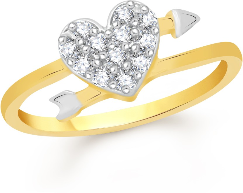 VK Jewels Stone in Heart Alloy Cubic Zirconia 18K Yellow Gold Plated Ring