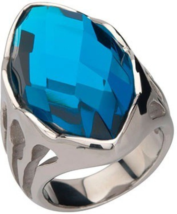 Inox Jewelry Large Blue Crystal Cocktail Stainless Steel Ring