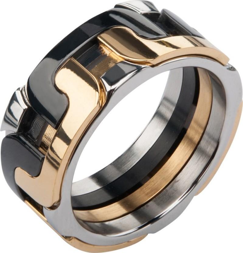 Inox Jewelry Large Interlock Pattern Stainless Steel Ring