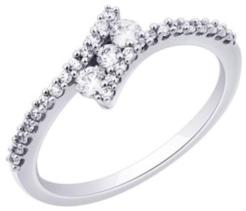 Amogh Jewels Queen Sterling Silver Diamond 14K White Gold Plated Ring