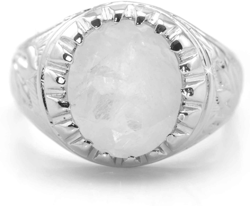 House of Gems India Sterling Silver Moonstone Sterling Silver Plated Ring