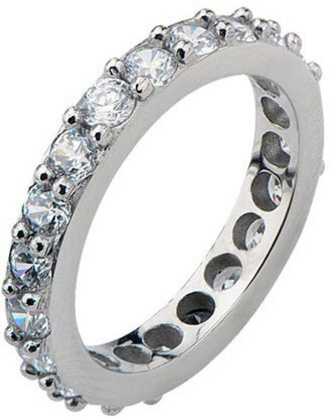 Inox Jewelry Channel Set Half Eternity Stainless Steel Cubic Zirconia Ring