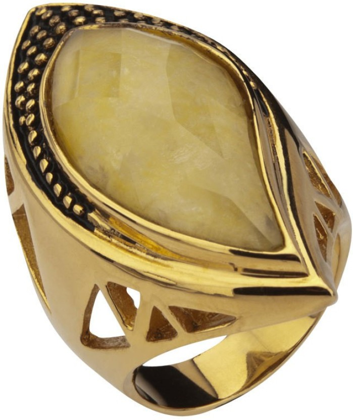 Inox Jewelry Large Yellow Crystal Cocktail Stainless Steel Crystal Ring