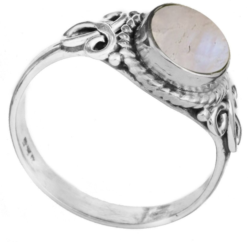 Exotic India Gemstone Sterling Silver Moonstone Ring