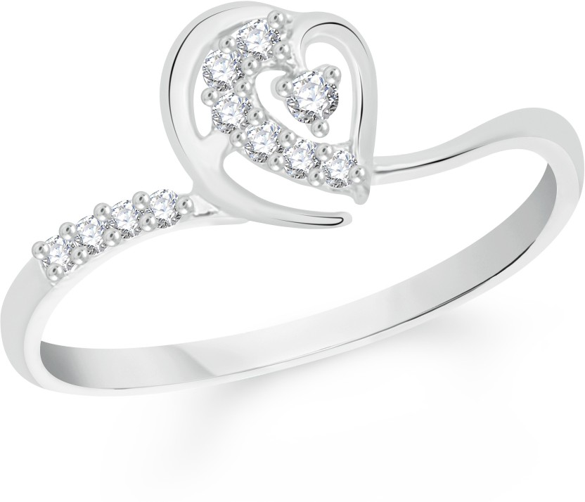 VK Jewels Sublime Heart Alloy Cubic Zirconia Rhodium Plated Ring
