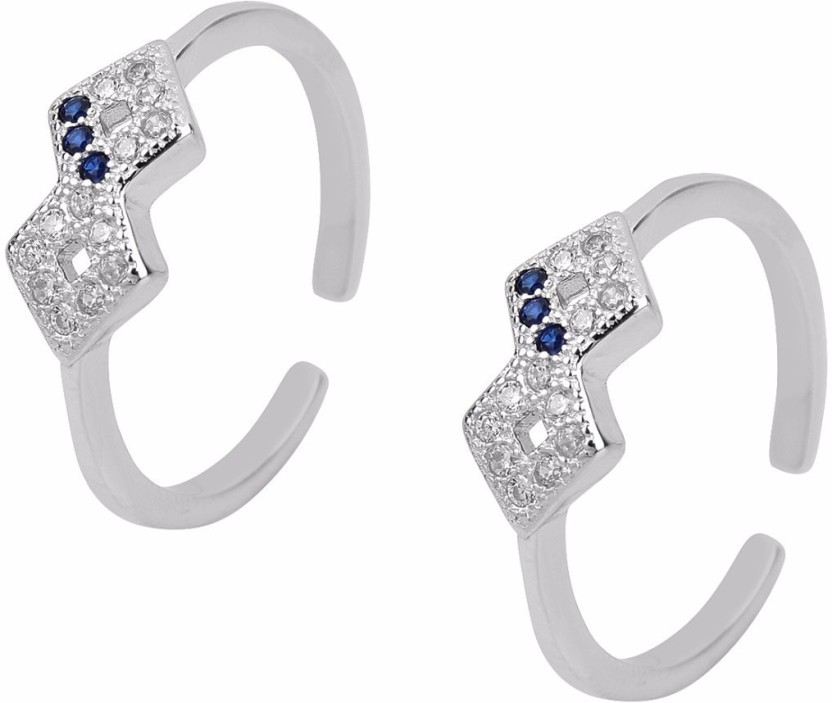 Jewel Craft Sterling Silver Sapphire, Cubic Zirconia Rhodium Plated Toe Ring Set
