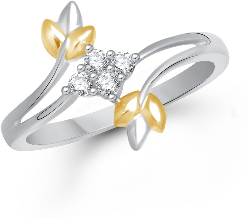 VK Jewels Crossover Leaf Alloy Cubic Zirconia 18K Yellow Gold Plated Ring