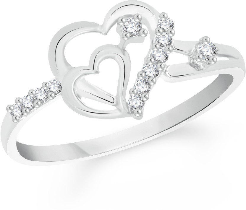 VK Jewels Two Heart Alloy Cubic Zirconia Rhodium Plated Ring