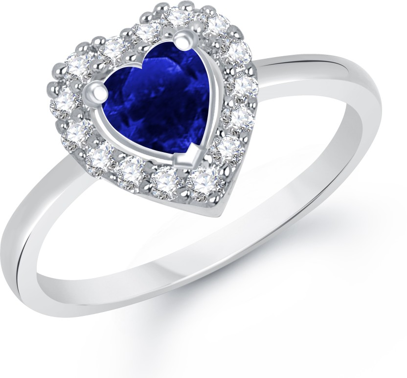 VK Jewels Blue Bell Heart Shape Alloy Cubic Zirconia Rhodium Plated Ring