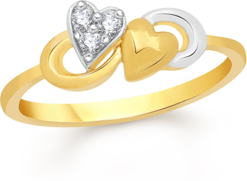 VK Jewels Butterfly Heart Alloy Cubic Zirconia 18K Yellow Gold Plated Ring