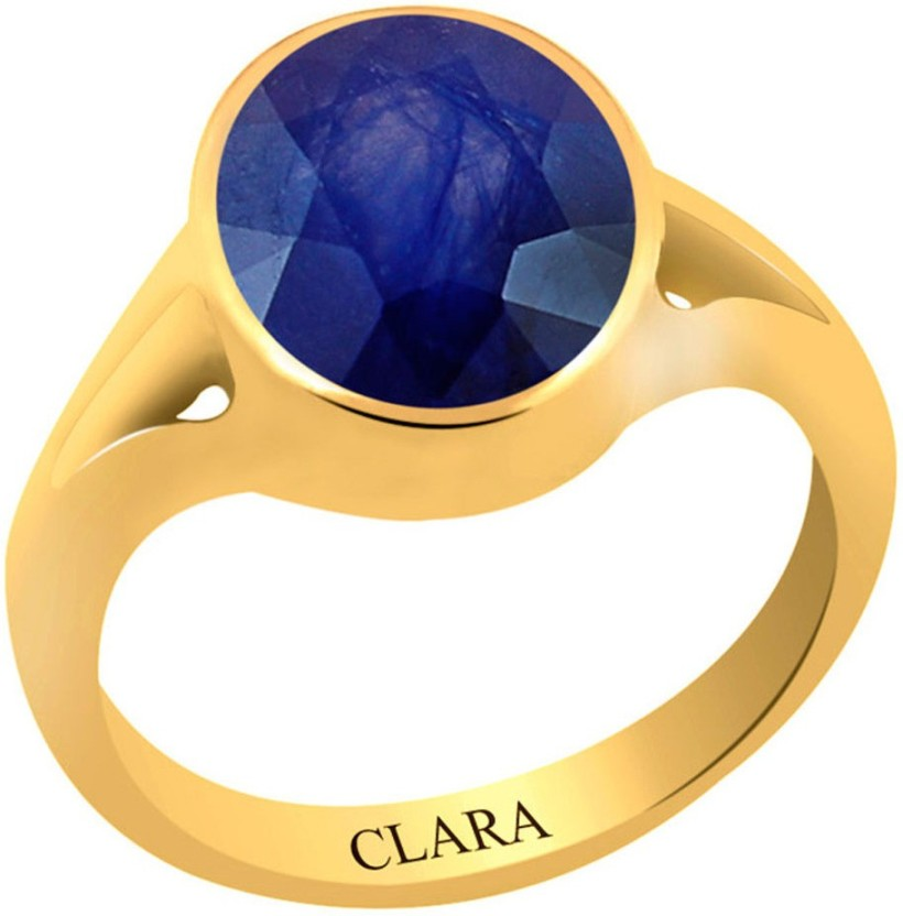 Clara Blue Sapphire Neelam 7.5 carat or 8.25ratti Panchdhatu Silver Sapphire Yellow Gold Plated Ring