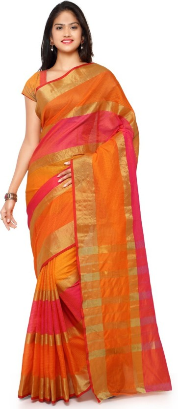 Saara Striped Fashion Poly Silk Saree