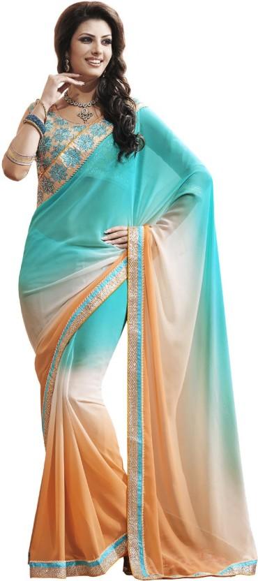 Indian Women By Bahubali Self Design Fashion Georgette Saree
