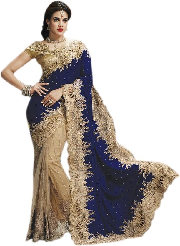 Jay Fashion Self Design Bollywood Velvet, Net Saree
