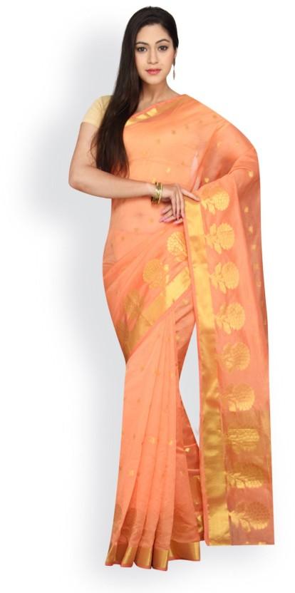 Pavechas Self Design Banarasi Silk Cotton Blend Saree
