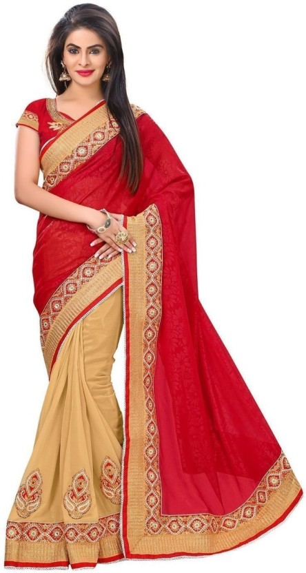 Sargam Fashion Self Design, Embroidered, Embellished Fashion Georgette Saree