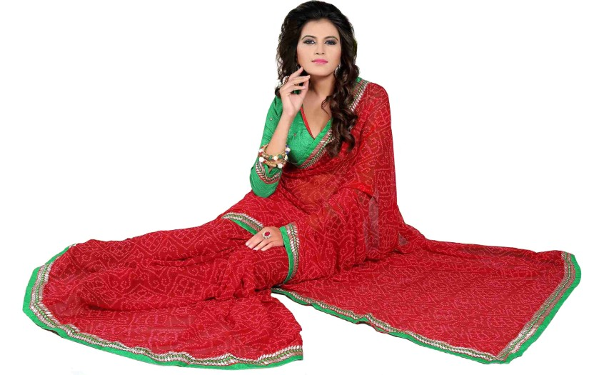 Oomph! Embroidered Fashion Chiffon Saree