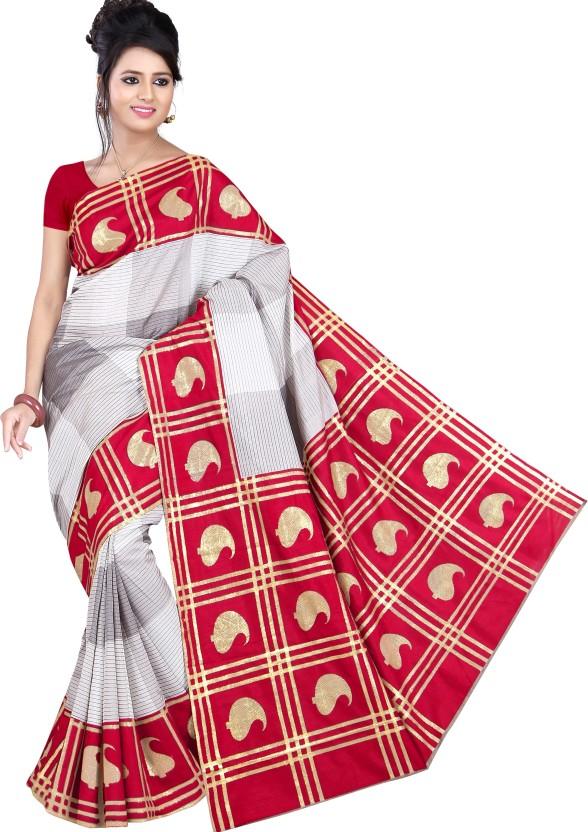 Saran Paisley, Checkered Bollywood Art Silk Saree