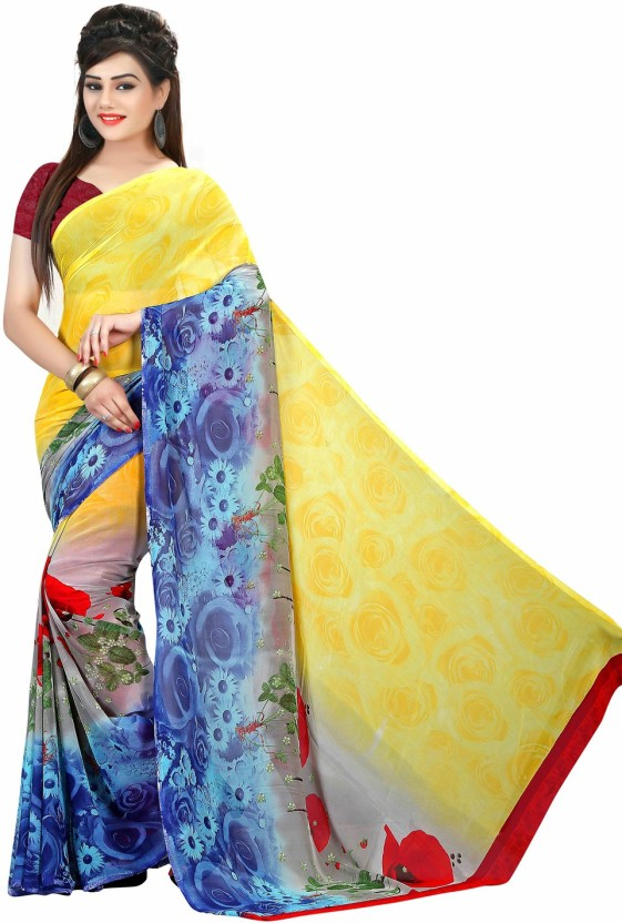 Dream Beauty Fashion Floral Print, Solid, Polka Print, Hand Painted, Striped, Printed, Digital Prints, Geometric Print, Graphic Print, Animal Print, Self Design, Embroidered Daily Wear Georgette Saree