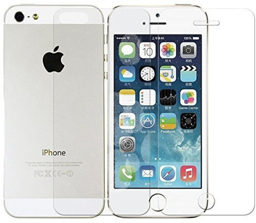MudShi Tempered Glass Guard for Apple iPhone 5s Front and Back