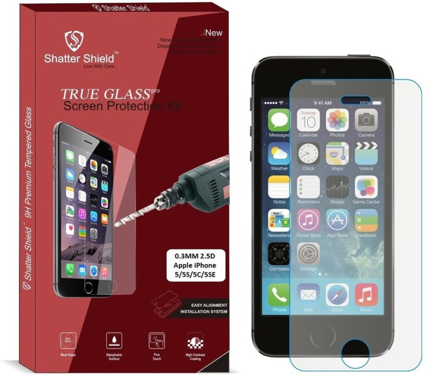 Shatter Shield Tempered Glass Guard for Apple iPhone 5 / Apple iPhone 5S / Apple iPhone 5C / Apple iPhone 5SE (4.0 Inch Display)
