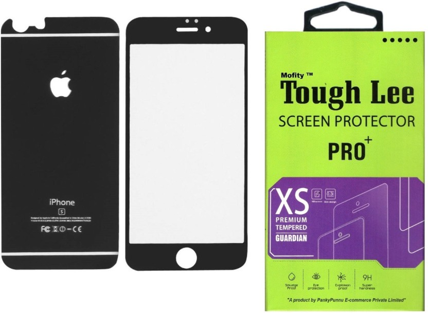 Tough Lee Tempered Glass Guard for Apple Iphone 6s Plus (5.5 inch, Matte Black) (Front and Back)