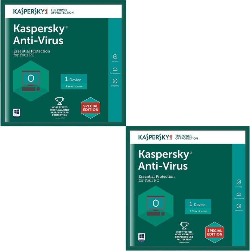 KASPERSKY Antivirus Software 2017 New Slim Pack 2Pc 1Year(2Cd,2 serial Numbers EveryKeys 365 Days Valid)