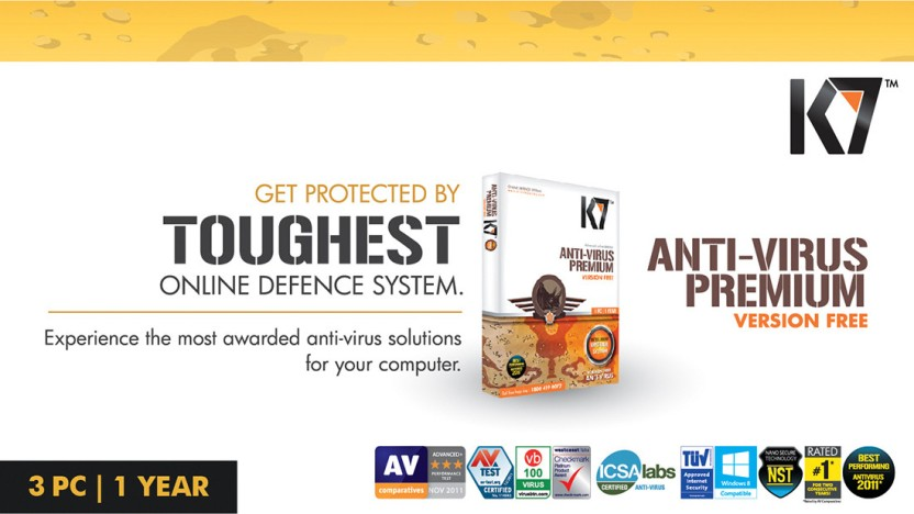 K7 Anti-Virus Premium 3 PC 1 Year (Activation card)