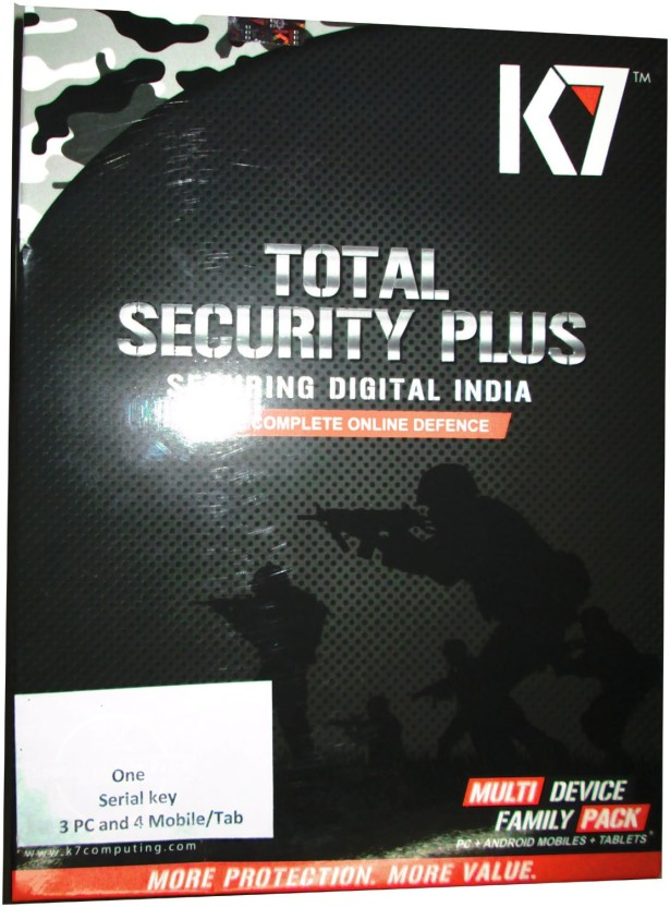 K7 Total Security Plus Family Pack 3 PC & 4 Android Mobile 1 Year Full Protection.