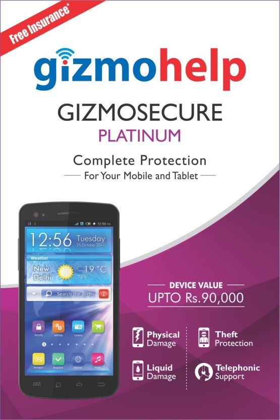 Gizmohelp Gizmo Secure Platinum Device Protection Plan 3999 (With Accidental Physical & Liquid Damage Insurance for 1 Year) For Smart Phones & Tablets with MRP upto Rs.90,000