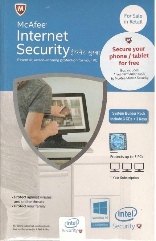 McAfee Intel Internet Security+ 3user 1 year version ( separate 3CD 3keys in one box)
