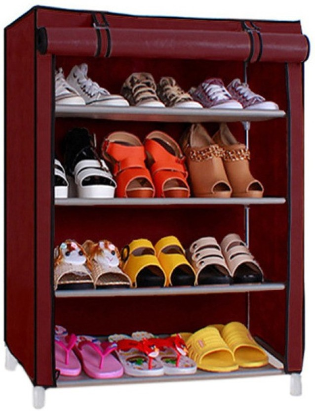 Pindia 4 Layer Maroon Design Rack Organizer Polyester Collapsible Shoe Stand