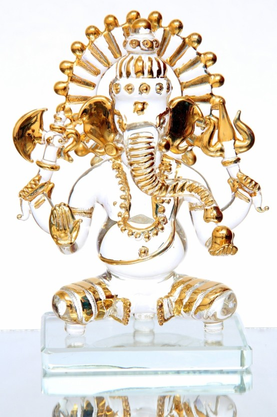 Anasa Kamal Ganesh God Idol With 22ct Gold Plated Medium Showpiece  -  7.5 cm