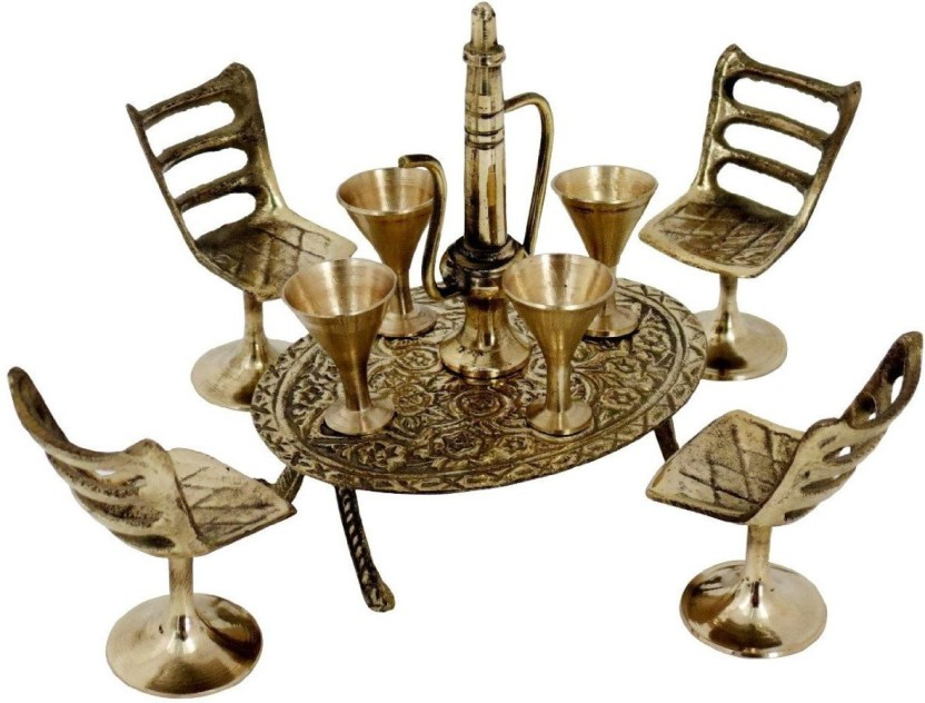 Total Furnishing Unique Design Dining Table Chair Maharaja Set Showpiece  -  3 cm