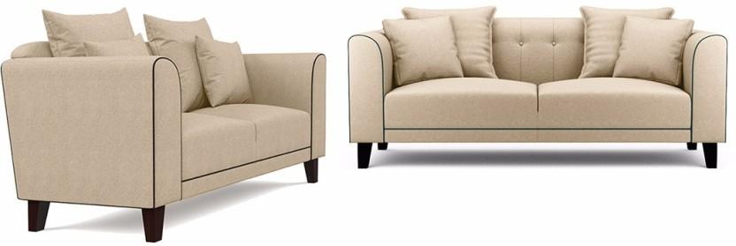 Fabhomedecor Ferris Fabric 3 + 2 Cream Sofa Set