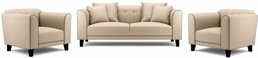 Fabhomedecor Ferris Fabric 3 + 1 + 1 Cream Sofa Set
